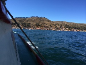 Crossing Lake Titicaca on the journey to Santa Cruz.