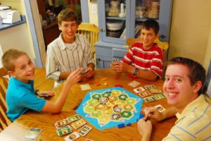 Us playing an intense game of Settlers of Catan!